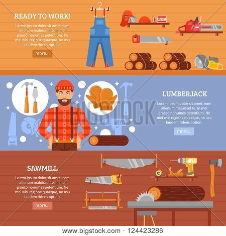 Lumberjack and sawmill horizontal banners set with working clothes tools equipment and wood isolated vector illustration