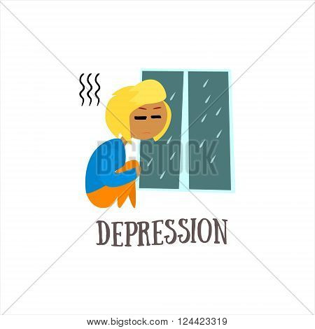 Depression Simplified Design Flat Vector Illustration On White Background