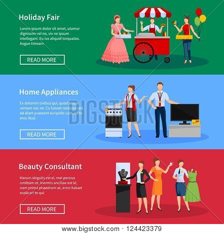 Consultants and street sellers banners set with holiday fair home appliances and clothes isolated vector illustration