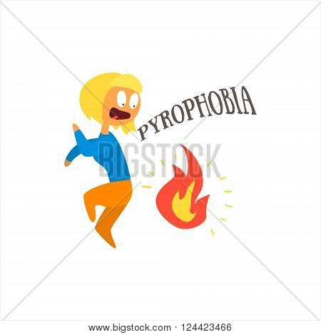 Pyrophobia Simplified Design Flat Vector Illustration On White Background