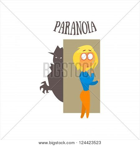 Paranoia  Simplified Design Flat Vector Illustration On White Background