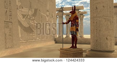 Egyptian God Seth 3D illustration - Seth was an Egyptian god of chaos storms disorder violence war and foreigners. He has the body of a human being and the head of an animal holding the ankh symbol for life.