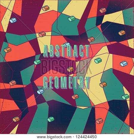 strange abstract stylized digital pattern with geometric figures