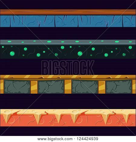 Alien Planet Platformer Level Floor Design Set  In 2-d Vector Looped Pattern