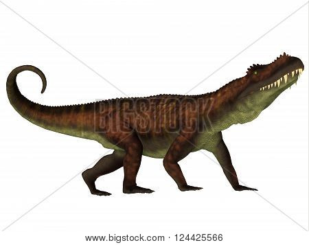 Prestosuchus Side Profile 3D illustration - Prestosuchus was a carnivorous dinosaur that lived in the Triassic Period of Brazil.