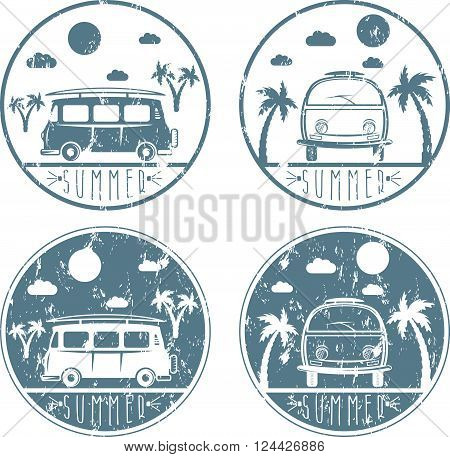 Retro Bus With Surfboard Grunge Vector Labels Set