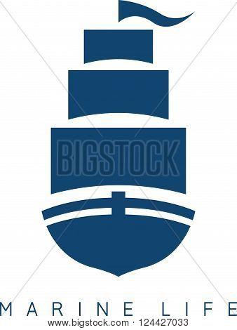 Abstract Sail Ship Icon Vector Design Template