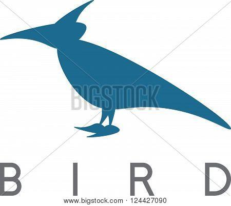 vector design template of abstract bird raven