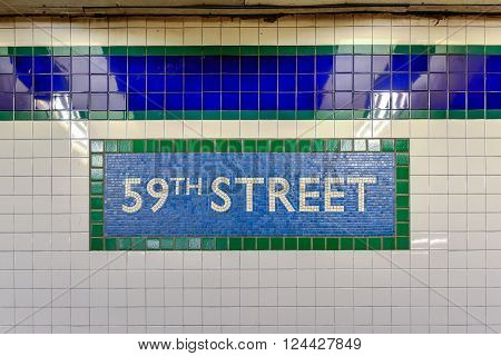 New York City - March 27, 2016: 59th Street Station tile sign in the NYC MTA subway system in Manhattan.