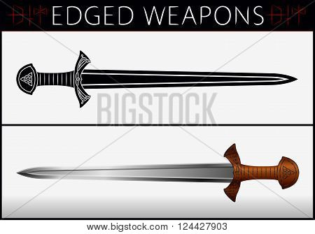Sword. Gladius. Medieval Weapons. Collection Of Vector Edged Weapons