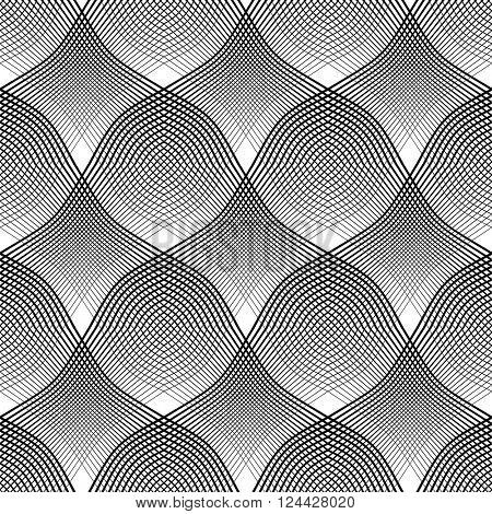 Seamless meshy pattern. Convex and concave optical effect. Vector art.