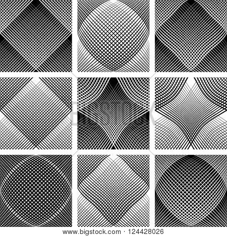 Meshy patterns. Convex and concave optical effect. Design elements set. Vector art.