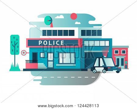 Building of the Police Department. Architecture exterior street, vector illustration