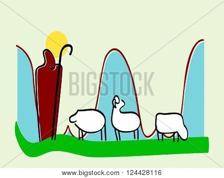 Jesus leader sheep silhouette icon vector illustration. Hand drawn Scene of the Holy Bible