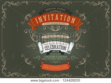 Illustration of a vintage invitation placard poster background for holidays and special events with sketched banners floral patterns ribbons text design elements and grunge texture