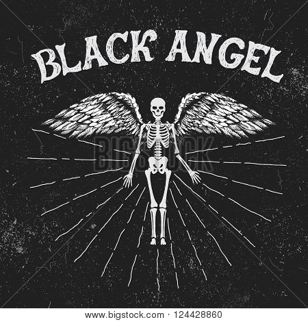 Vintage label with black angel.Vintage style.Typography design for t-shirts