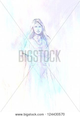 drawing of mystical angel woman in beautiful historic dress