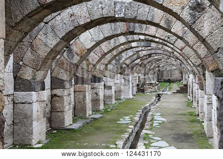 Agora of Smyrna in Izmir city Turkey