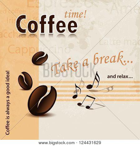 Coffee Break words background vintage