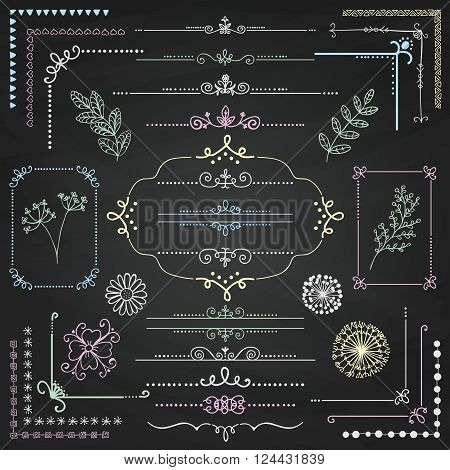 Decorative Sketched Rustic Floral Doodle Corners, Branches, Frames, Dividers, Text Frames, Border Lines, Page Calligraphic Design Elements on Chalk Board Texture. Chalk Drawing Vector Illustration.