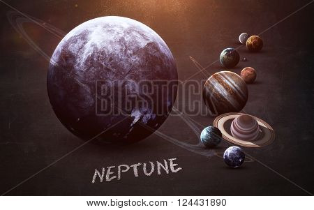 Neptune - High resolution images presents planets of the solar system on chalkboard. This image elements furnished by NASA