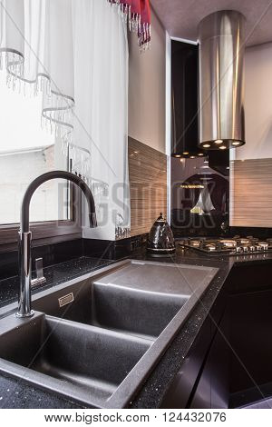Granite Sink In Elegant Kitchen