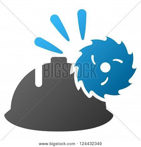 Circular Blade Head Protection vector toolbar icon for software design. Style is a gradient icon symbol on a white background.