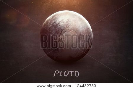 Pluto - High resolution images presents planets of the solar system on chalkboard. This image elements furnished by NASA