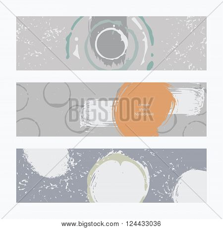 Set of horizontal banners handdrawn decorated with liquid ink brush splashes stripes strokes and spots. Isolated on white background vector branding illustration stylish with imperfect parts.