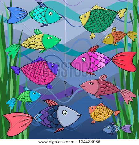Illustration of many fish and fish hook in Risk concept, Vector.
