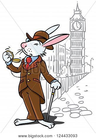 Childrens vector illustration of funny little rabbit in glasses, jacket, hat and pants with watch and walking cane or stick. On background of Big Ben and London cityscape