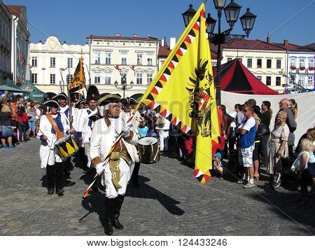 Novy Jicin Czech Republic - September 5 2015: Austrian infantry (army) from the time of Napoleonic Wars on parade during annual city celebration of Novy Jicin Czech Republic