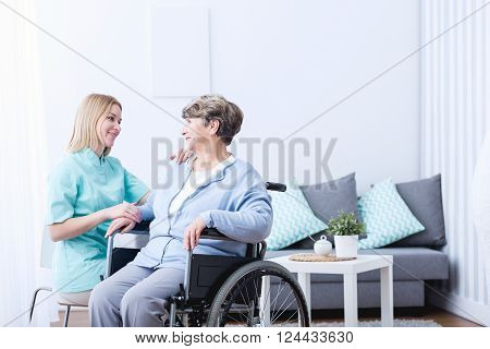 Senior Lady On Wheelchair