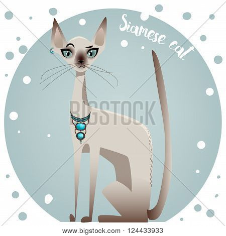 spotted pedigreed  colorful cute cat - vector illustration