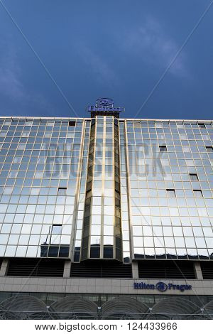 PRAGUE, CZECH REPUBLIC - MARCH 31: Hilton hotels and resorts logo on the building of Hilton Prague hotel on March 31, 2016 in Prague, Czech republic.