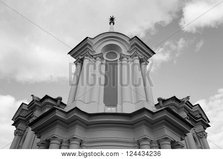 Smolny Monastery in St.Petersburg Russia. Black and white.