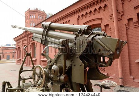 Soviet anti-aircraft gun of the Second World War in St.Petersburg Russia.