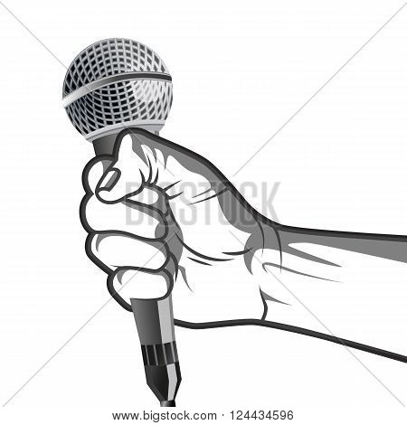 hand holding a microphone in a fist.  vector illustration in black and white  style.
