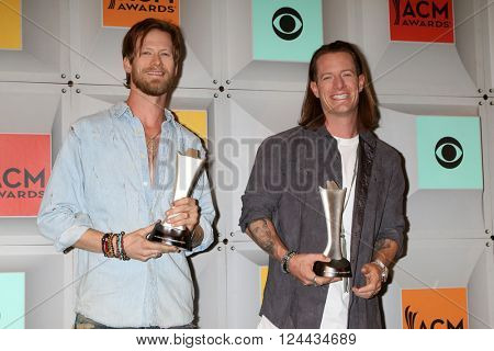 LAS VEGAS - APR 3:  Brian Kelley, Tyler Hubbard, Florida Georgia Line at the 51st Academy of Country Music Awards at the MGM Grand Garden Arena on April 3, 2016 in Las Vegas, NV