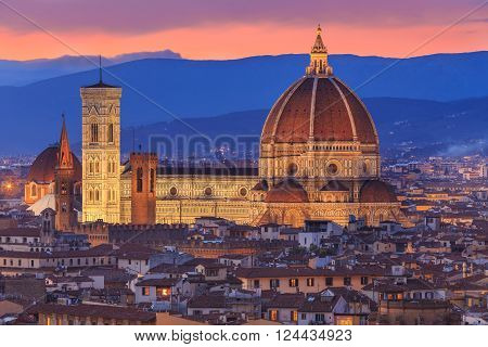 View to Florence at sunset in Toscana