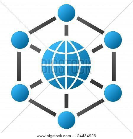 Global Web Nodes vector toolbar icon for software design. Style is a gradient icon symbol on a white background.