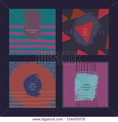 Set of square cards handdrawn decorated with liquid ink brush splashes blots stripes strokes and spots. Isolated on blue background vector branding illustration stylish with imperfect parts.