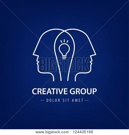 Vector abstract two people with light bulb. Vector logo design. Concept for social network, team work, partnership, friends, business cooperation, coworking, creative team, group logo