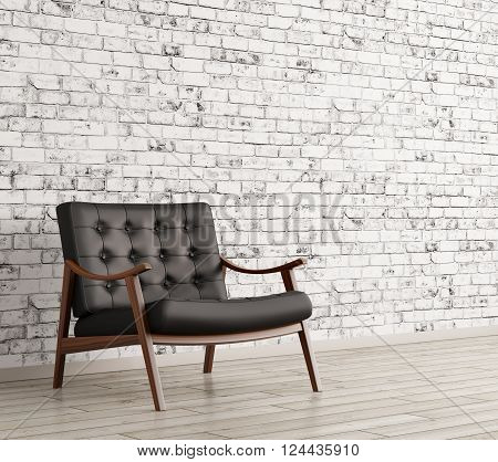 Black Armchair Against Of Brick Wall 3D Rendering