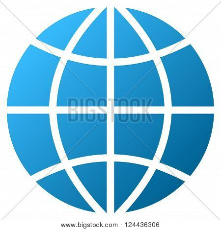 Planet Globe vector toolbar icon for software design. Style is a gradient icon symbol on a white background.