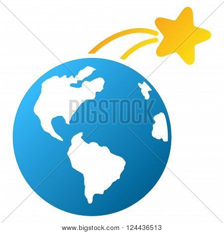 Rising Satellite on Earth vector toolbar icon for software design. Style is a gradient icon symbol on a white background.