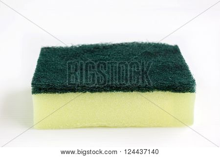 Closeup scrub sponge or disk sponge on white background