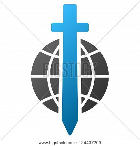 Sword Globe vector toolbar icon for software design. Style is a gradient icon symbol on a white background.