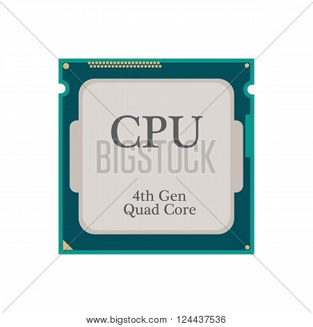 CPU Processor icon on the white background. Vector illustration