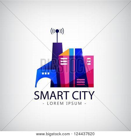 Vector smart city, real estate logo. business smart city concept .business communication.city life.
